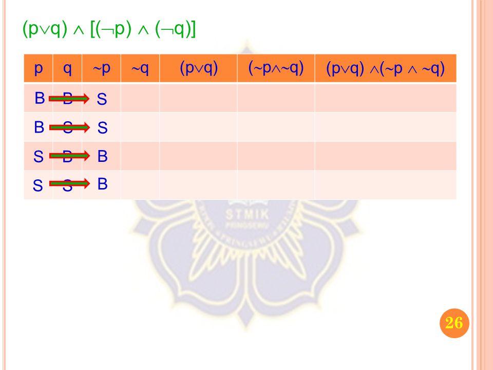 (pq)  [(p)  (q)] p q p q (pq) (pq) (pq) (p  q) B B S B